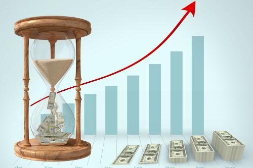 お金が溜まっていく折れ線グラフ