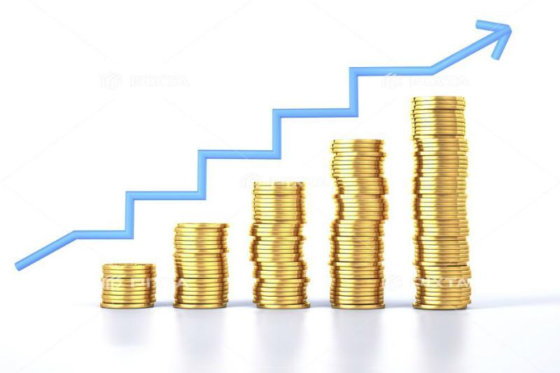 お金の積み上げと折れ線グラフの画像